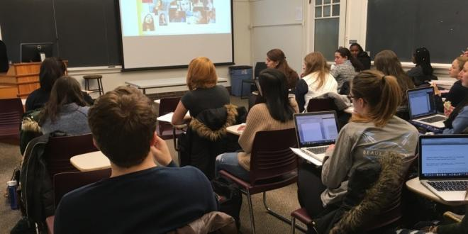 "HMS students in Professor Sirry Alang's ""Aids and Society"" course learn about the prevalence of HIV in women, both in the U.S. and globally. Worldwide, HIV represents the leading threat to death for women of reproductive age."
