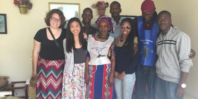 Jennifer Chen and Talia Dunyak meeting with the chief of Yoff in Senegal. Jennifer and Talia shadowed several community change agents as they conducted home interviews about malaria prevention.