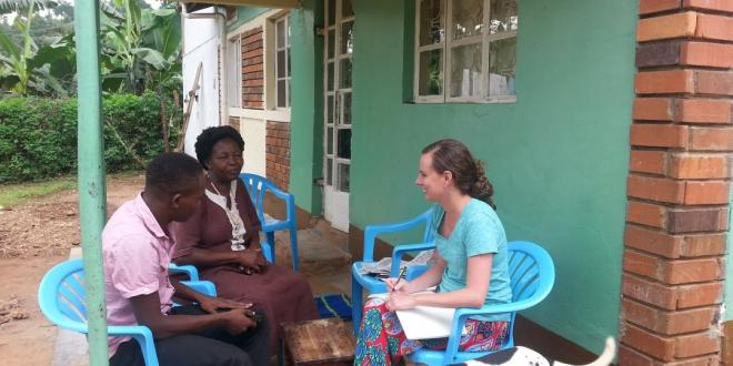 Professor Kelly Austin interviews local Ugandans on their perspectives on health challenges in the community and changes in the delivery of health services.